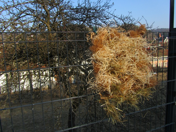 Fertiges Gitter mit Nistmaterial am Zaun