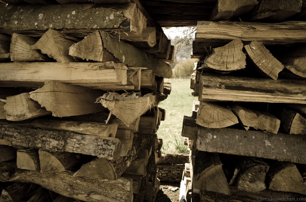 Durchluschern in den Garten...Holzscheiten gestapelt