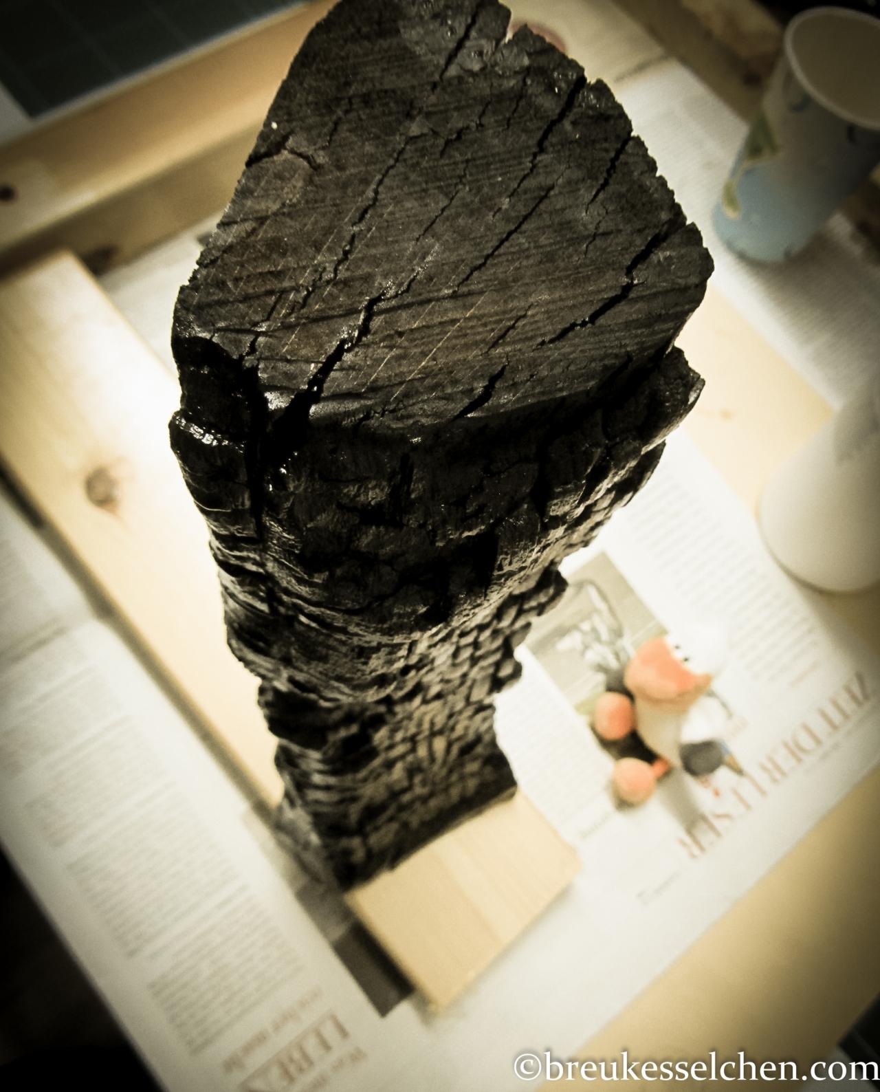 verkohlte Holzscheite in schwarz