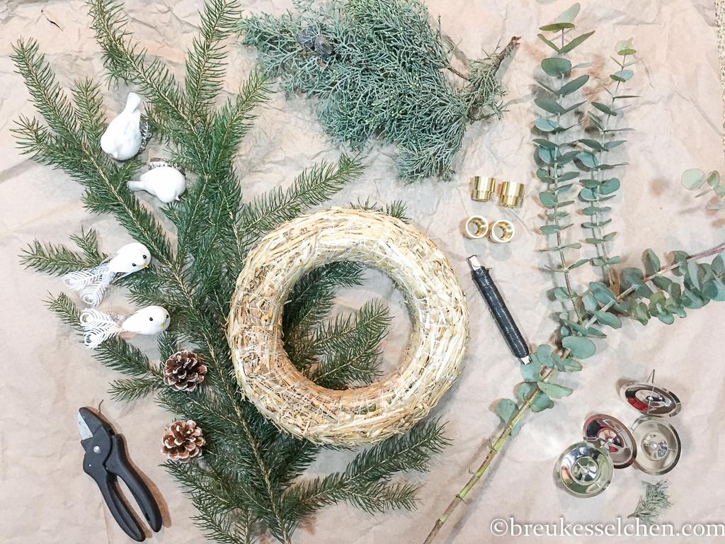 3. DIY Selbstgemachter Adventskranz Tannenzweige Eukalyptus (1)